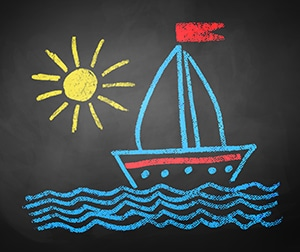Chalked drawing of ship.